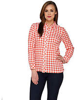 Denim & Co. As Is Gingham Check Button Front Shirt