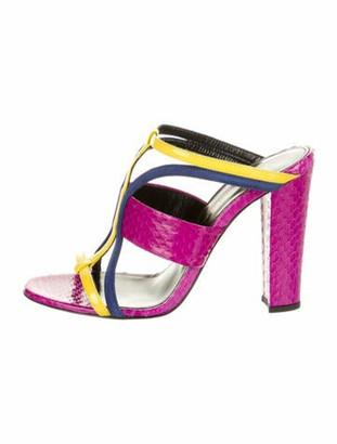 Oscar de la Renta Leather Colorblock Pattern T-Strap Sandals Purple