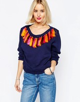 House of Holland Boat Neck Sweatshirt with Tassels