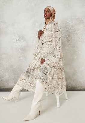 Missguided Grey Snake Print Keyhole Flutter Sleeve Smock Midaxi Dress
