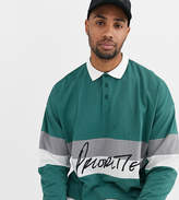 Asos Design ASOS DESIGN Tall organic cotton oversized long sleeve polo with colour block panels and text print-Green