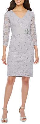 Jackie Jon 3/4 Sleeve Embellished Lace Sheath Dress