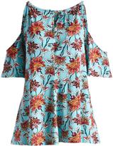 Glam Aqua & Rust Floral Keyhole-Tie Cutout Tunic