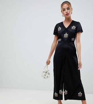 ASOS DESIGN Petite tea jumpsuit with embroidery and lace insert