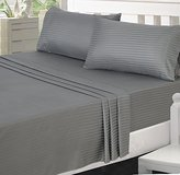 Utopia Bedding Microfiber Striped Bed Sheet Set with Deep Pockets Queen, Grey