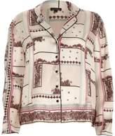 River Island Womens Cream floral split sleeve pyjama top