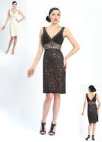 Sue Wong N4367 V-Neck Mesh Cocktail Dress