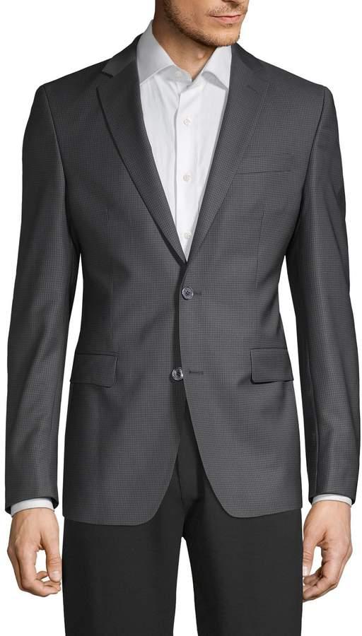 Versace Modern Fit Textured Mini Checker Wool Sport Jacket