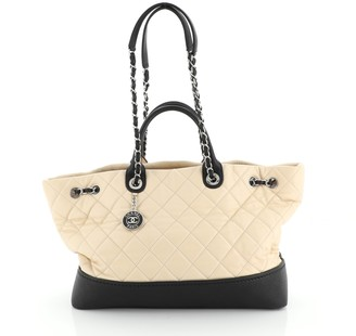 Chanel Coco Drawstring Shopping Tote Quilted Calfskin with Caviar Large
