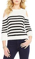 J.o.a. Cold-Shoulder 3/4 Sleeve Striped Sweater