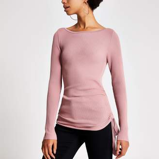 River Island Womens Pink ruched side ribbed long sleeve top
