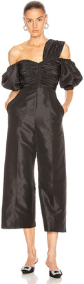 Self-Portrait One Shoulder Jumpsuit in Black | FWRD