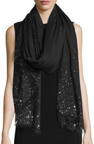 Faliero Sarti Domenica Rhinestone-Trim Wool-Blend Scarf, Black