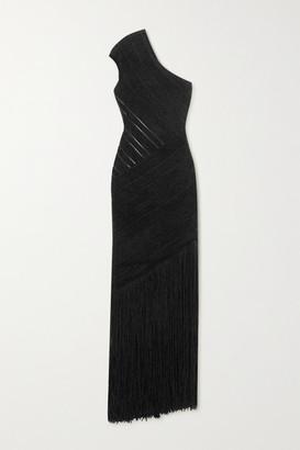 Herve Leger One-shoulder Fringed Velour Bandage Gown - Black