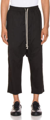Rick Owens Drawstring Cropped Pants in Black | FWRD