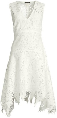 Josie Natori Palm Lace Sleeveless A-Line Dress