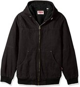 Levi's Men's Tall Size Cotton Canvas Workwear Hoody Bomber with Full Sherpa Lining