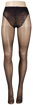 Hue Graduated Compression Sheer with French Lace Panty (Black) Sheer Hose