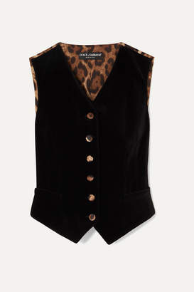 Dolce & Gabbana Cotton-blend Velvet And Leopard-print Satin Vest - Black