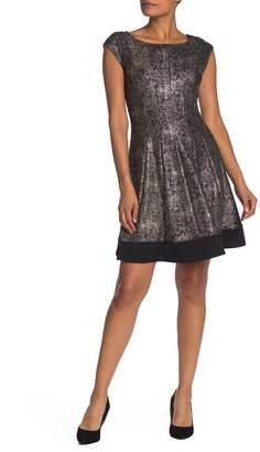 Robbie Bee Metallic Print Cap Sleeve Fit & Flare Dress