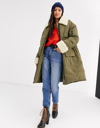 Asos DESIGN borg panelled padded coat in khaki