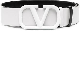 Valentino Logo Buckle Leather Belt
