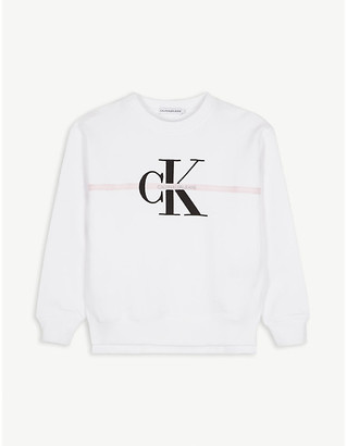 Calvin Klein Jeans Logo-embroidered cotton-jersey sweatshirt 4-16 years