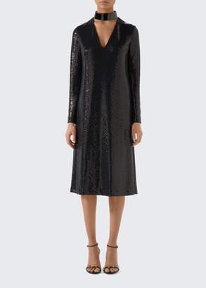 Gucci Long-Sleeve Laminated Lizard V-neck Dress