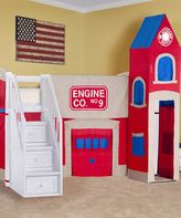 White Firehouse Loft Bed with Stairs