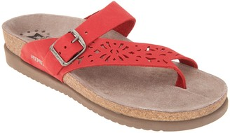 Mephisto Perforated Nubuck Toe Loop Sandals - Helen Perf