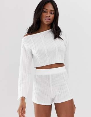 Asos Design DESIGN lounge knitted cable off shoulder jumper-Cream