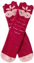 Fat Face Children's Fluffy Owl Socks, Raspberry