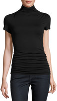 Max Studio Short-Sleeve Turtleneck Top, Black