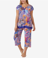 Ellen Tracy Plus Size Contrast-Trimmed Printed Knit Pajama Top