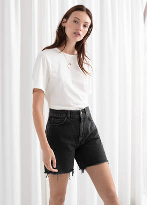 And other stories Frayed Hem Fitted Denim Shorts
