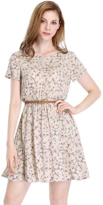 Allegra K Women's Floral Prints Belted Elastic Waist Skater A-Line Short Sleeve Dress XS Pink