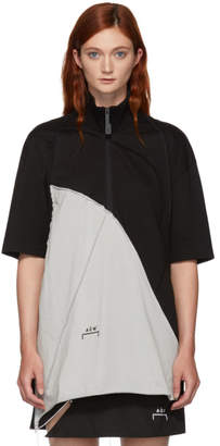 A-Cold-Wall* Black and Grey Raw Edge Short Sleeve Turtleneck