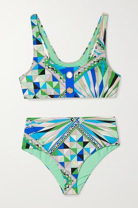 Emilio Pucci Button-embellished Printed Bikini - Green
