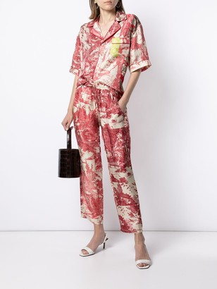 Pierre Louis Mascia Embroidered Drawstring Silk Trousers