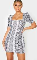 PrettyLittleThing Grey Snake Print Short Sleeve Puff Shoulder Square Neck Bodycon Dress