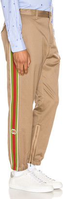 Gucci Cotton Pant With Stripes in Khaki & Multi | FWRD