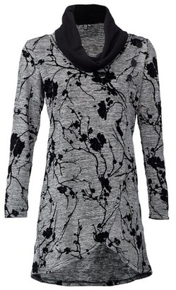 Dorothy Perkins Womens Izabel London Grey Floral Wrap Knit Top, Grey