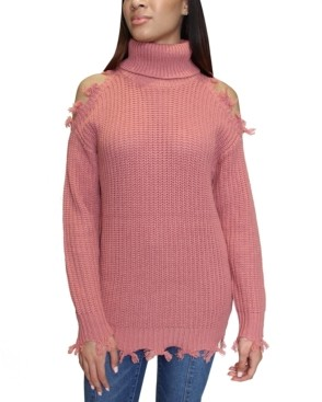 Almost Famous Juniors' Destructed Turtleneck Tunic Sweater