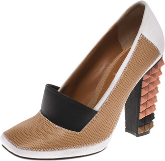 Fendi Multicolor Lizard Embossed Leather and Fabric Polifonia Court Studded Heel Pumps Size 38