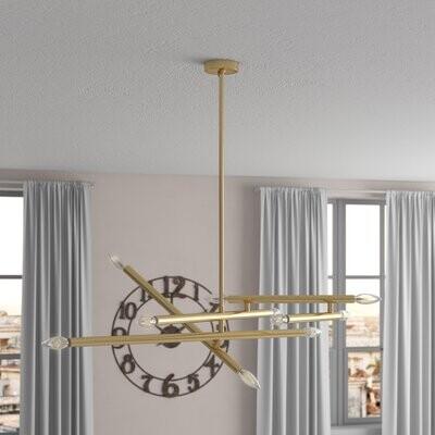 Ivy Bronx Mendivil 10 Light Sputnik Modern Linear Chandelier Finish Brass Shopstyle