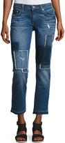 Derek Lam 10 Crosby Mila Patchwork Mid-Rise Slim Boyfriend Jeans, Blue