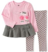Kids Headquarters Little Girls Peplum Top and Printed Leggings Set