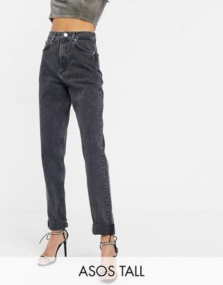 Asos Tall DESIGN Tall High rise 'slouchy' mom jeans in washed back-Black