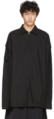 Random Identities Black Tech Zip Up Shirt