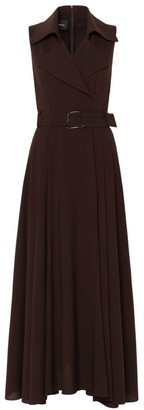 Akris Wool Crepe Challis Belted Maxi Dress
